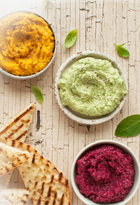 Carrot, Beetroot & Spinach Dips