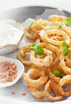 Onion Rings with Buttermilk Ranch Sauce