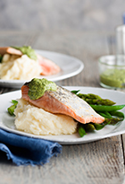 Crispy Skin Salmon with Salsa Verde & Creamy Mash