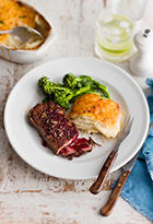 Peppered Steak with Red Wine Jus & Creamy Potato Bake